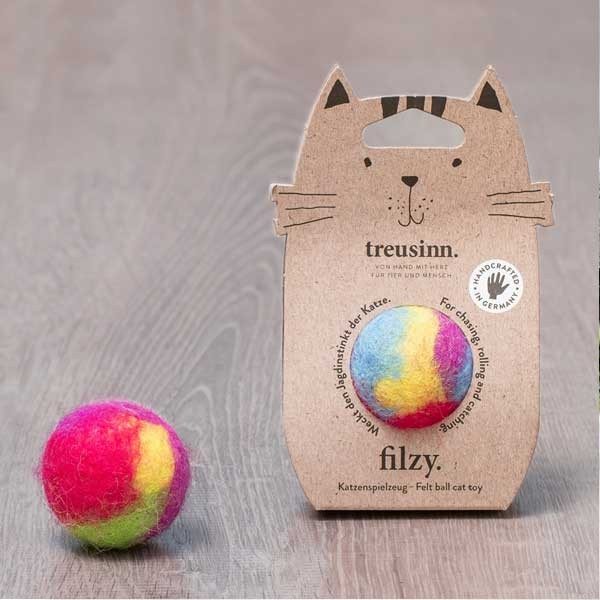 Filzy von Treusinn kunterbunter Ball mit Schelle für verspielte Katzen